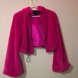 Hot pink fuzzy fashion nova jacket